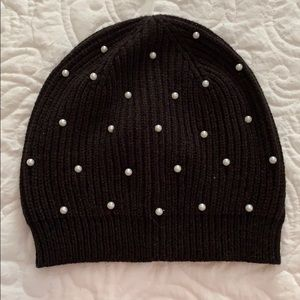 NWT J.Crew Black with Pearl accents beanie hat